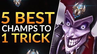 Top 5 BEST CHAMPS to One Trick and RANK UP FAST - Pro Meta Tips | League of Legends Guide (Season 9)