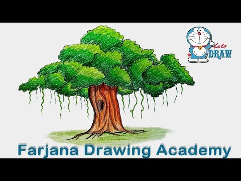 How to draw Banyan tree step by step (very easy)