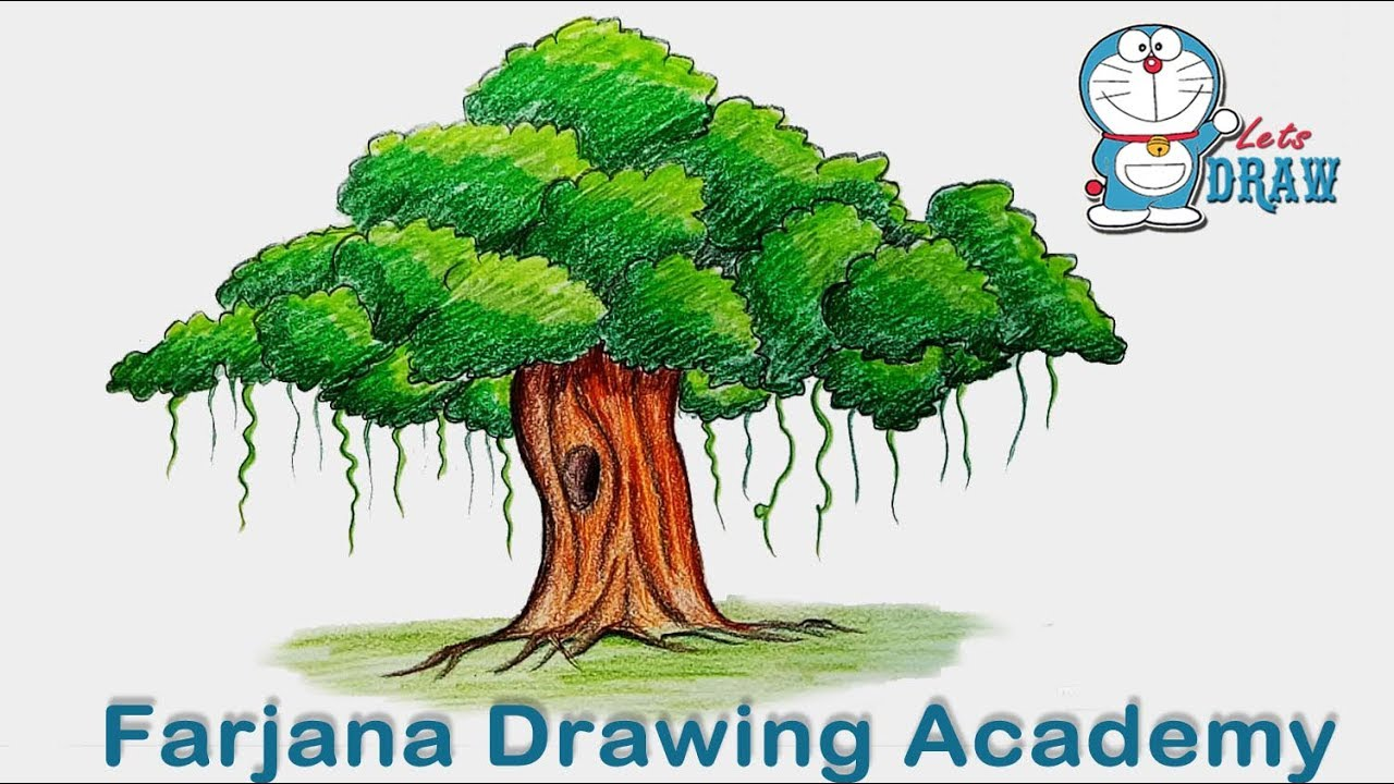 How To Draw Banyan Tree Step By Step Very Easy Youtube