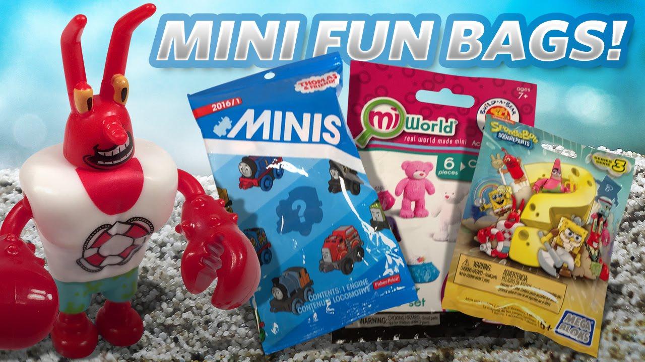 Opening FUN Mini Toy Bags - Thomas & Friends, Sponge Bob, Build a Bear