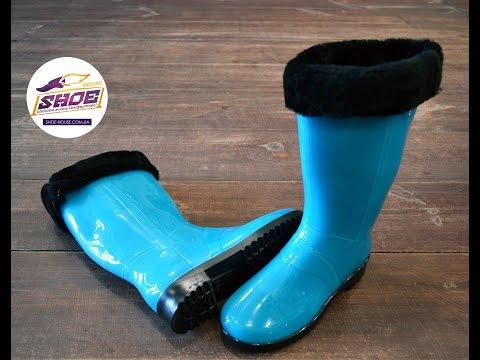 Голубые женские резиновые сапоги Litma с утеплителем