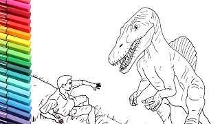 How to Draw Dinosaurs Spinosaur VS Human - Drawing and Coloring Jurassic World Dino