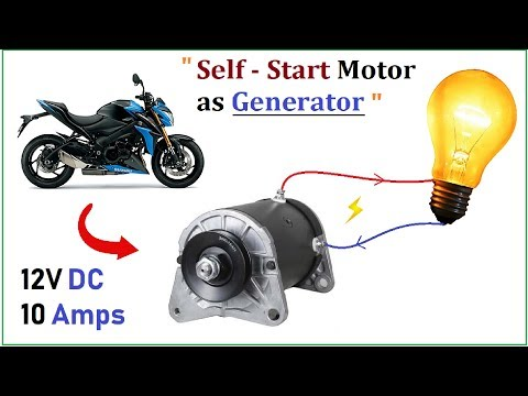 12V 15A DC Motor Starter as 10 amp High Current Electric Generator - Bike Starter Motor