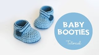 Repeat youtube video How To Crochet Cute and Easy Baby Booties | Croby Patterns