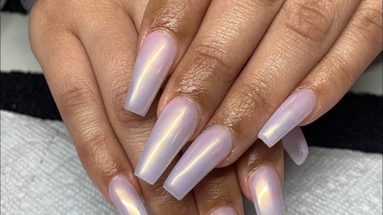 white chrome nails acrylic nail