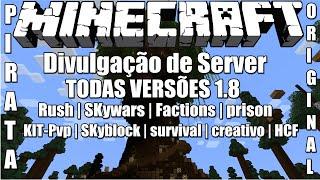 Server de Minecraft 1.8/1.8.8 Factions,prison,SKyblock,survival,criativo Minigames Pirata e Original