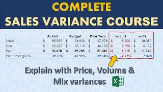 the Complete Sales Variance Analysis Course (Price, Volume, Mix Analysis) in Excel