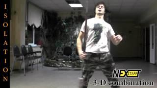 Фаер-шоу. Уроки Шест (Spin staff) стиль ISOLATION - 3-D combination
