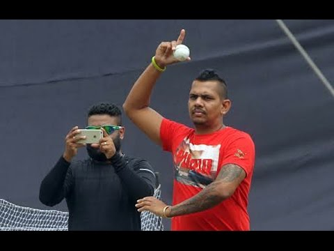 Sunil Narine Bowling With A Reinnovated Action At The JU Campus.