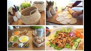 قفة البصل و البطاطا سندويشات دجاج مشوي و خبز الدار