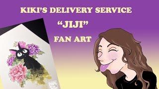 inktense illustration jiji from kikis delivery service fanart