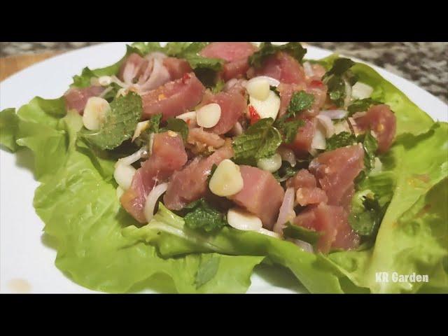Harvest vegetable and making Tuna Salad