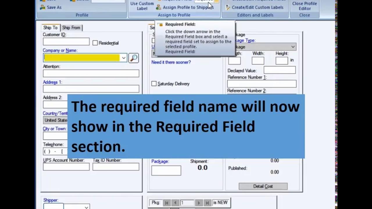 UPS WorldShip - Create Required Fields
