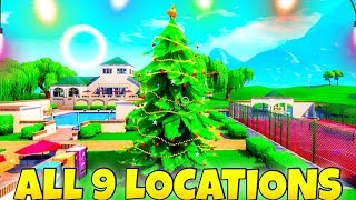 (ALL 9 LOCATIONS) Dance In Front of Different HOLIDAY TREES! (Free REWARD) Fortnite Battle Royale