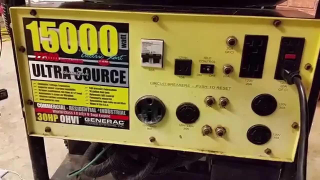 how loud is a generac 15kw 15 000 watt 30hp air cooled generator youtube [ 1280 x 720 Pixel ]