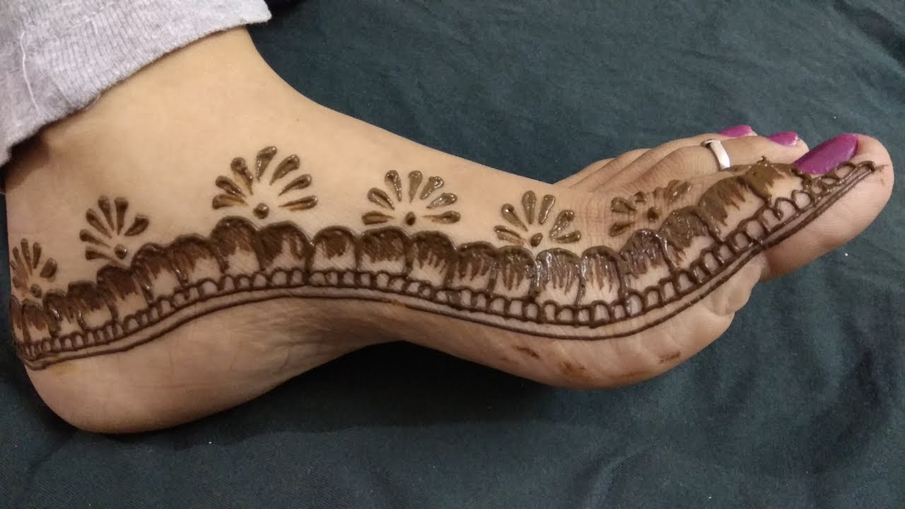 Leg Mehndi Simple : Beautiful and easy feet leg mehndi design tutorial