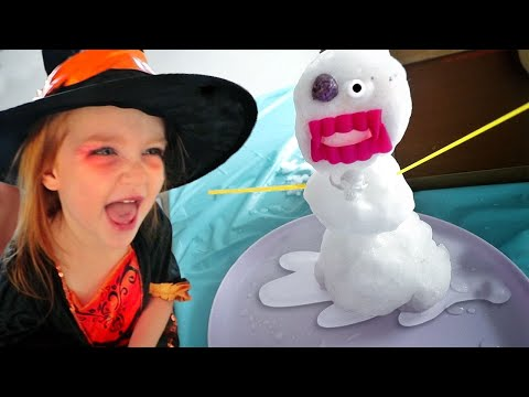 SNOWMAN inside our HOUSE!! Playing in Backyard Snow and pretend witch makeover for a Halloween Party