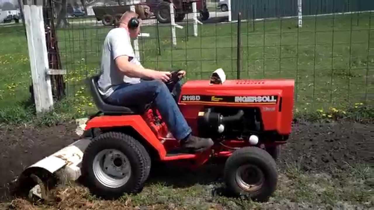 Ingersoll 3118 D Diesel Garden Tractor Rototilling YouTube