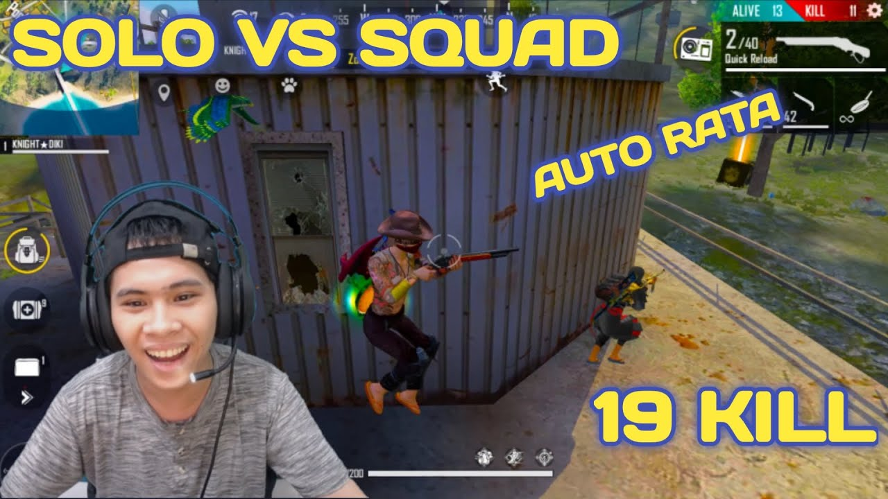 19 KILL SOLO VS SQUAD BARBAR AUTO RATAIN MUSUH SAMPE BOOYAH - FREE FIRE INDONESIA