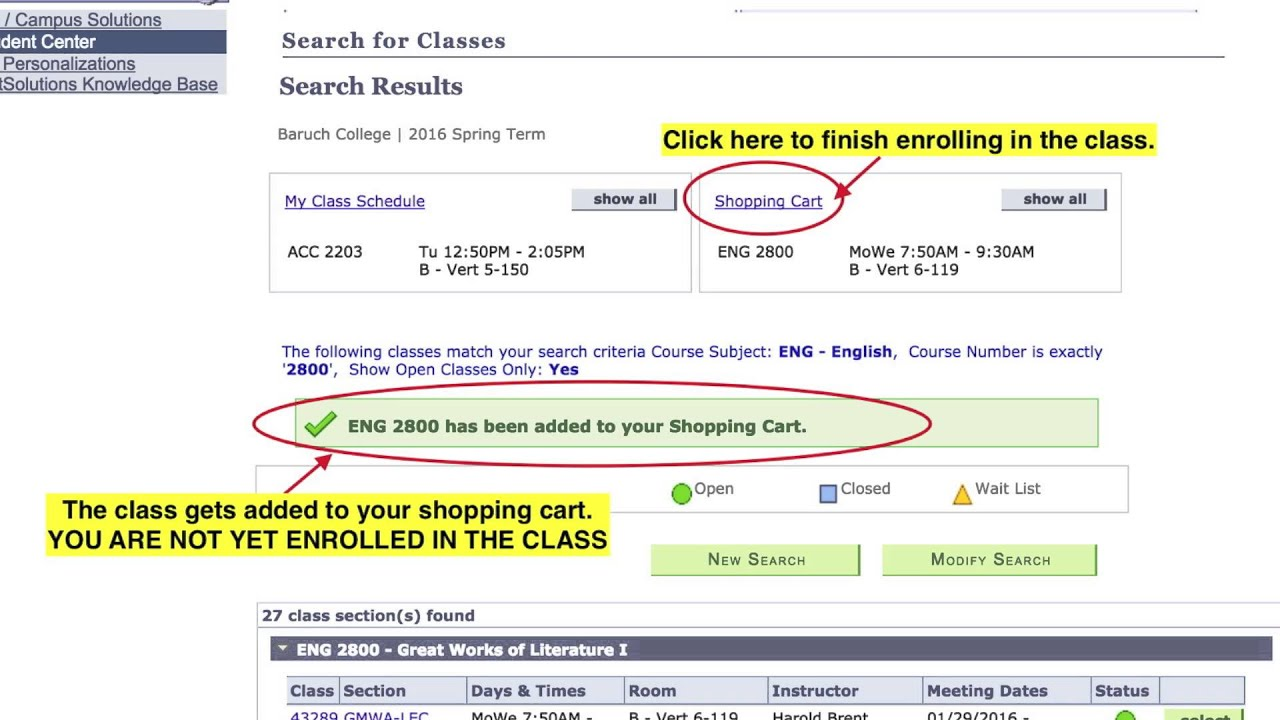 How To Search And Register For Cles Baruch College