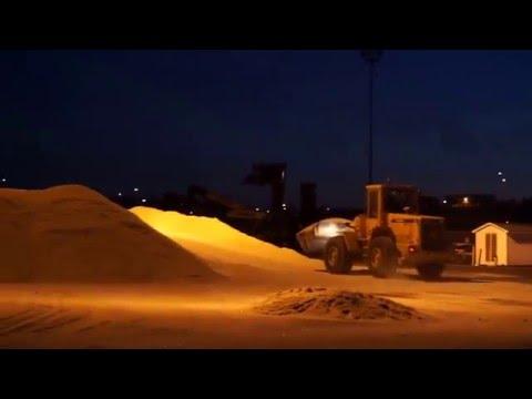 Unloading and Stockpiling Bulk Rock Salt