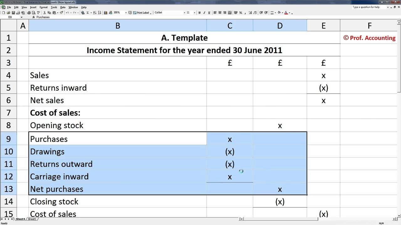 create a profit and loss statement