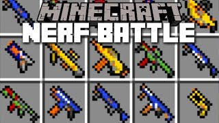 Minecraft NERF GUN WAR MOD NERF BATTLE WITH THE VILLAGERS Minecraft