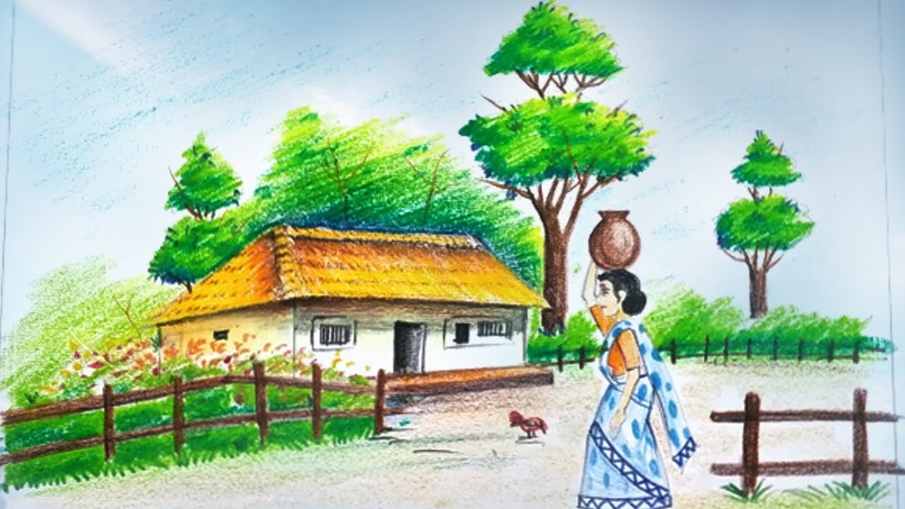 Village scenery with human figure drawing ka fanda