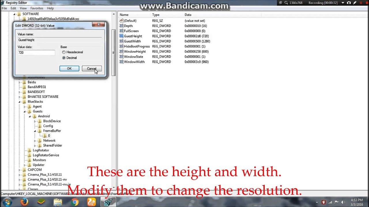 Change resolution of bluestacks