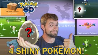 THIS WAS AMAZING! 4 SHINY POKEMON CAUGHT! (Pokemon GO 2020 Hatchathon)