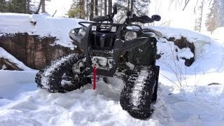Yamaha ATV Grizzly 700 On Tracks Dashing Through The Snow Into Cubbee Falls - Mar.17 2013