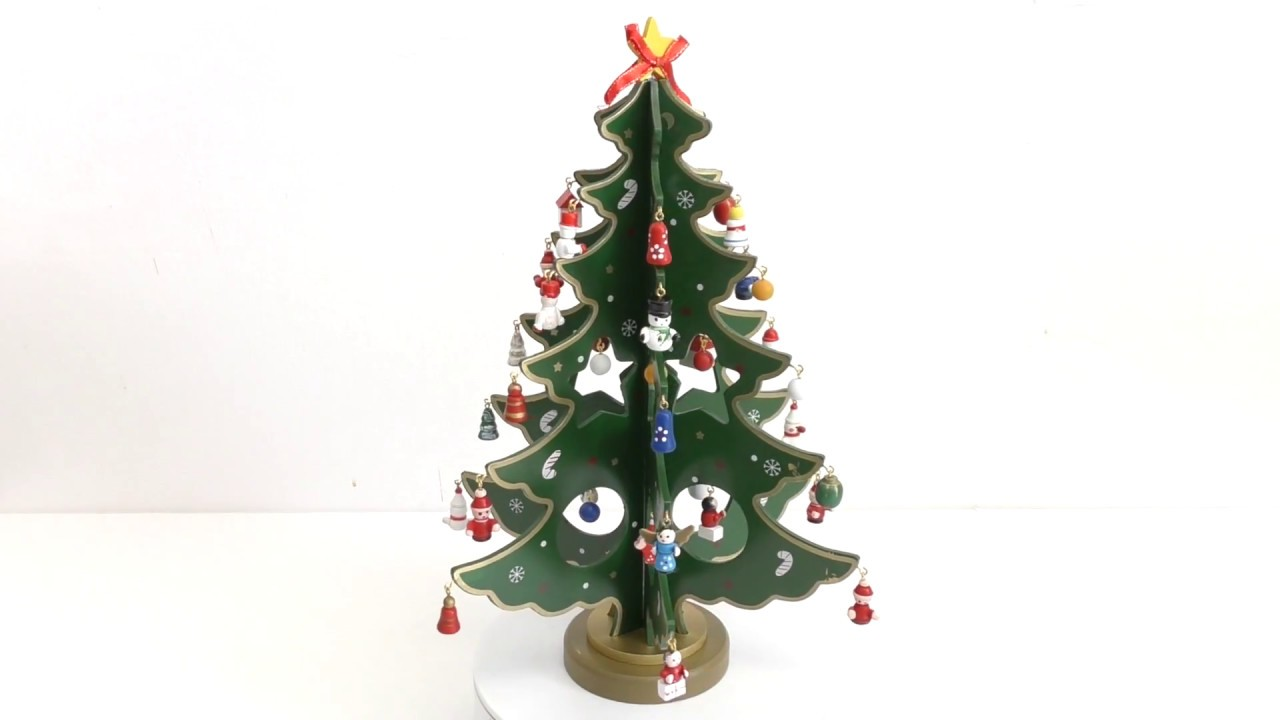 Wooden Tabletop Christmas Tree With Miniature Christmas Ornaments