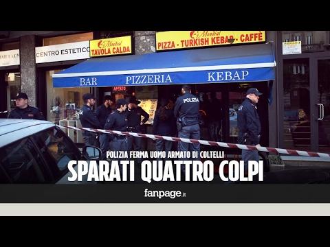"""Milano, uomo armato di coltelli, un testimone: """"Diceva ai poliziotti 'siamo fratelli parliamo'"""""""