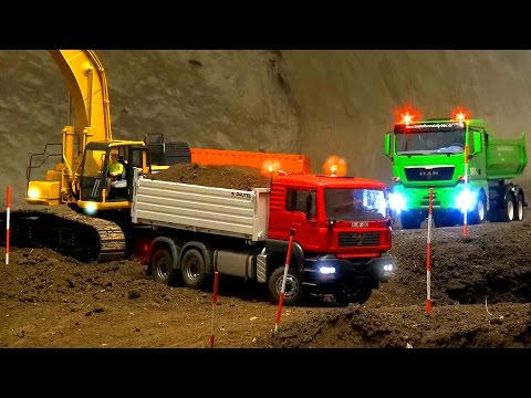 AMAZING RC CONSTRUCTIONE-SITE! Excavator! Dozer! MAN! MB! Scania!