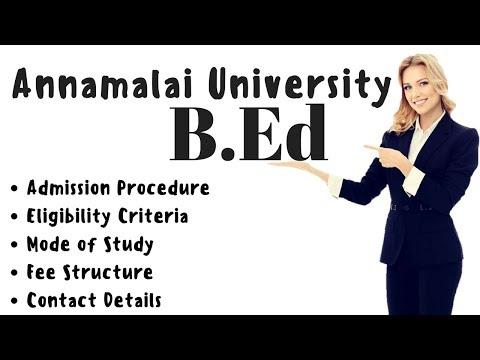 Annamalai University B.Ed Eligibility Admission Fee Syllabus