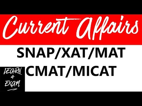 Current Affairs 2016 for SNAP/XAT/MAT/CMAT/MICAT [Part - 1/2]