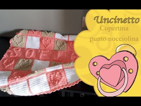 Uncinetto bimbi:Copertina punto nocciolina-How to do cover puff stitch(bobble) bobble st