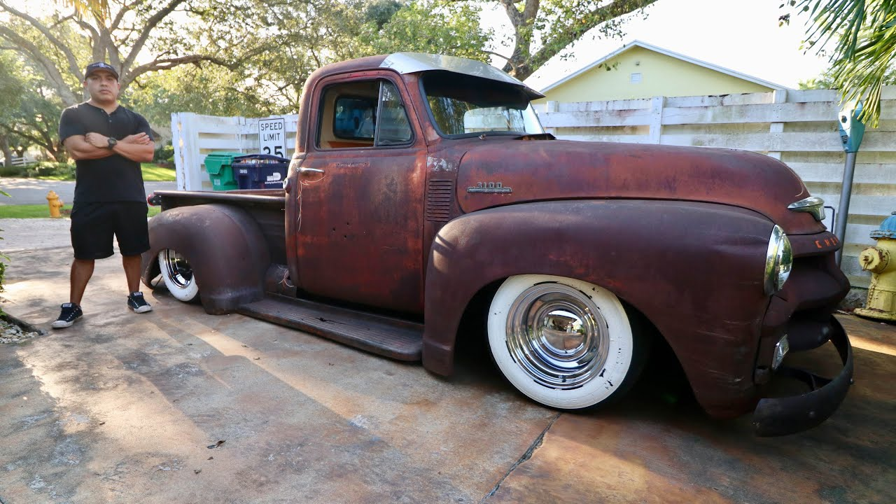 Patina Ratrod 1954 Chevy Pick Up 3100 On Air Bags -7262