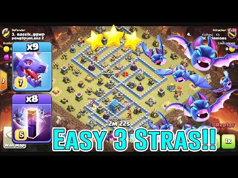 EASY 3-STAR ATTACKING - DRAGON BAT SPELL LOON STRATEGY ATTACK TH12 ( Clash Of Clans )