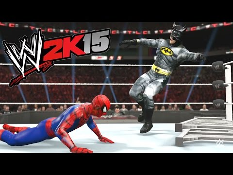 WWE 2K15 - BATMAN VS Spider Man - TLC MATCH