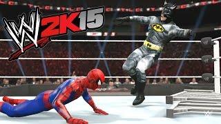 WWE 2K15 - BATMAN VS Spider Man - TLC MATCH