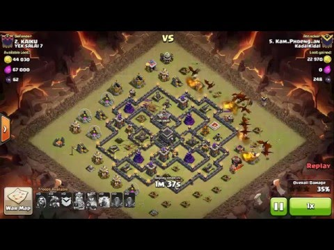 Dragon Attack with Lightning Spell Level 6 and Earthquake | TH9 100%