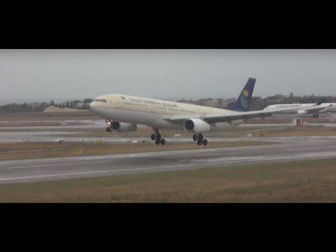 ✈ Saudi Arabian Airlines Airbus A330 Landing To Istanbul Ataturk (LTBA 35L)