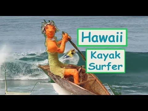 DIY Hawaii Kayak Surfer (Primitive) made of newspaper and air clay Tutorial : )