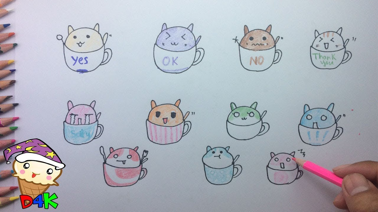 How To Draw Lots Of Cats In The Emotional Cup Draw Cat In The Cup