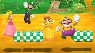 Mario Party 9 Garden Battle - Peach Vs Daisy Vs Wario Vs Luigi| Cartoons Mee