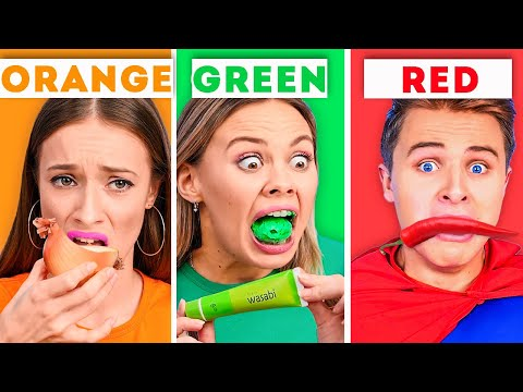 EATING ONLY ONE COLOR OF FOOD FOR 24 HOURS! || Funny Food Challenges