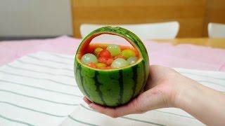 Watermelon Fruit Punch Basket 手のりスイカ丸ごとフルーツポンチかご