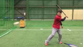 野球指導〜ラケットの面を使って、バッティングにおける右手、左手の動かし方・打撃練習〜