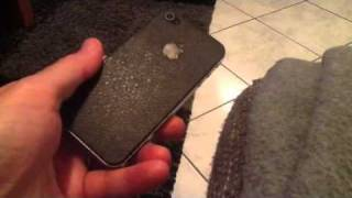 Coque arrière simili cuir iphone4